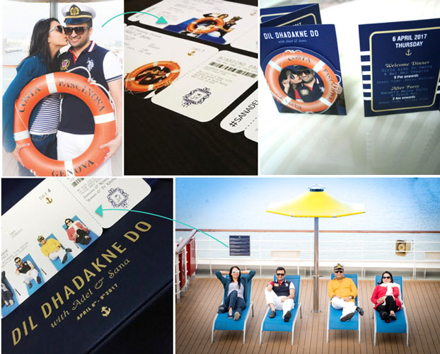 Indian Wedding card | cruise wedding | Adel and Sana wedding card | mini cruise ship | miniature | card inspired from pre wedding shoot
