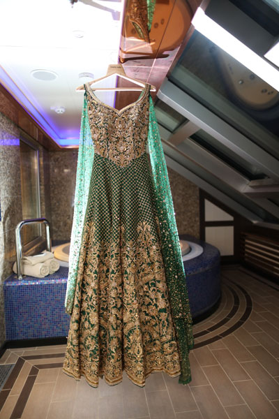 Sajan Wedding | Adel Sajan wedding | Adel and Sana Wedding | Cruise wedding | green Neeta Lulla gown