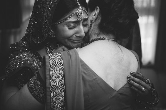 Mother daughter photos you must have together from your wedding | Things you love about your Indian Mother | Miss your mom thoughts | Indian bride crying on her mother's shoulder
