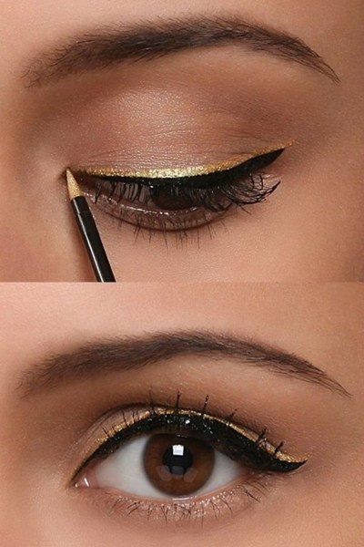 Makeup artist reveals | Pre wedding week DIY looks | Eye makeup looks for Indian brides | DIY eye makeup trends 2017 | Pre wedding celebrations makeup ideas | Double winged liner | gold glitter liner | Neha chabbra