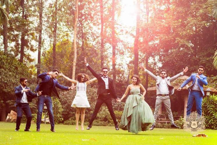 Pre Wedding Shoot in Delhi | Picture Art Company | Light green gown with frills | Kamakshi and Kshitij | Delhi Wedding | Fooling around | fun poses for the pre wedding shoot | Indian pre wedding shoot with friends poses