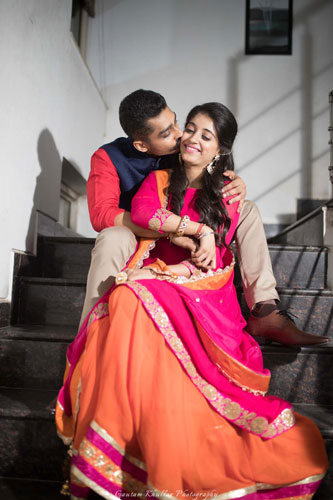 Dhruv and Saina | delhi wedding | cute pre wedding shoot | girl in a simple red suit and groom wearing a sherwani