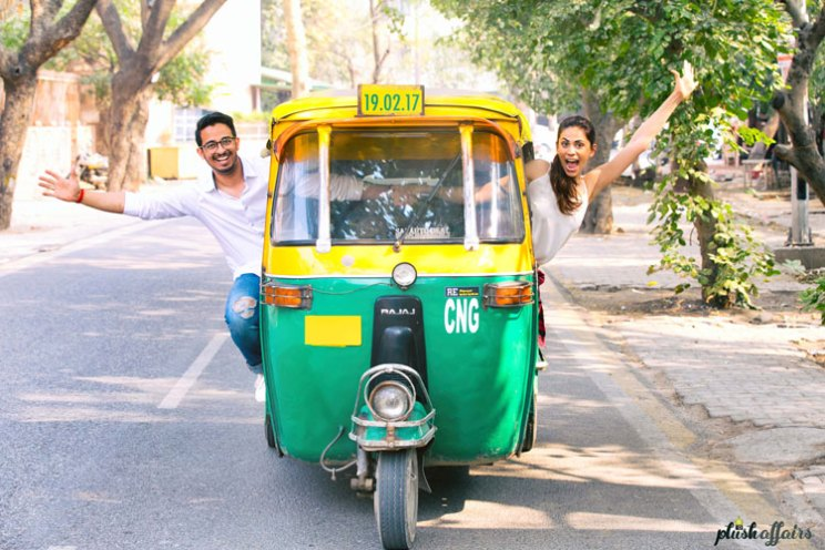 JyotPriya and Nishant | Punjabi wedding in Delhi | The couple's quirky pre-wedding shoot while posing in an autorickshaw.