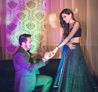 JyotPriya and Nishant | Punjabi wedding in Delhi | The guy proposing to his girl on one knee.