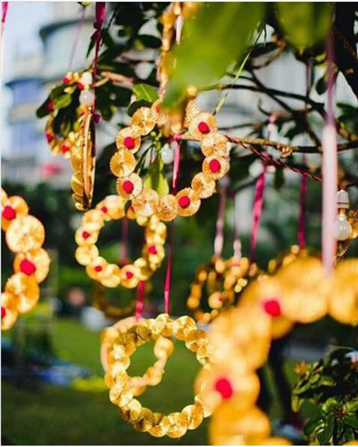 Gota decor for a teej party | teej celebrations decor idea | gota hanging s