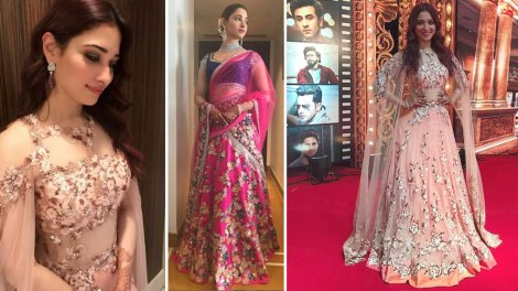 Tamannaah Bhatia at her brothers wedding in Mumbai flaunting pretty pink and blue meet alula lehenga draped like a saree | sister of the bride looks