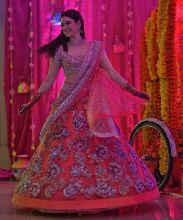 Tamannaah Bhatia at her brothers wedding in Mumbai flaunting pretty sister of the groom looks | sister of the groom in an orange and silver Neeta Lulla lehenga doing the twirl