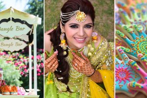 Teej party ideas | Teej Celebrations | Indian Mehendi with a bangle bar for favours |white cart with pretty signage and favours for guests | indian bride wearing a half mathapatti in gota with gota earrings in a green lehenga