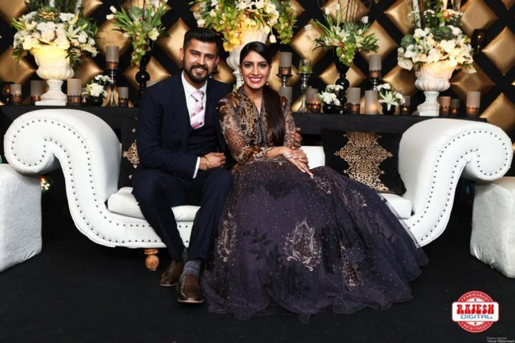Netika and Kushank | Destination wedding in Jaipur | The bride in a navy blue gown and the groom in a black tuxido complimented each other.