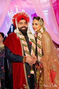 Bavleen and Kushal   Destination wedding in Goa   The couple smiling together on theri wedding day.