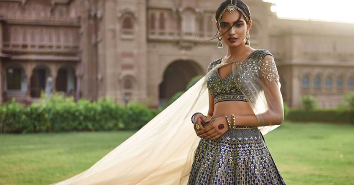 anita Dongre bridal collection | best Indian bridal wear designer Anita Dongre 2017 collection | gotapatti lehenga in blue and green hues