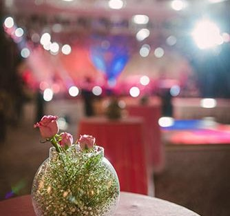 Jaya and Anish | Roka ceremony | Flower decor | The pink flower decor looked amazing.