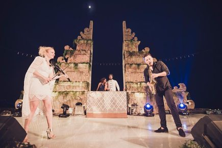 Sagar and Subiya   Destination wedding in Bali   The musicians at the sundowner definitely took the event a level up.