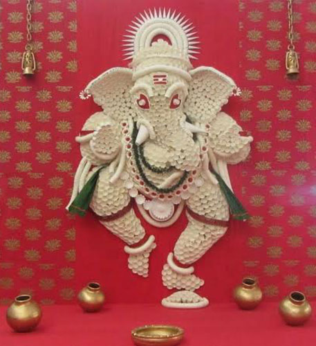 Ganesh ji made with paper cups at the select city walk mall | pooja decor ideas| Ganesh Chaturthi ideas | amazing Ganesh idols