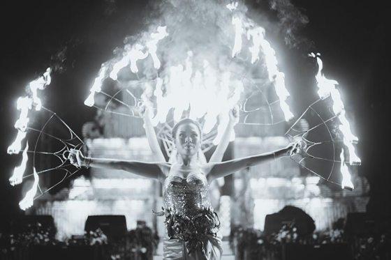 Sagar and Subiya   Destination wedding in Bali   The dancers in the backdrop of fireworks made the sundowner fun.