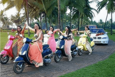 Bride enters with her girls squad | Create memories with your BFF– Bridesmaids photoshoot Ideas WE LOVED!