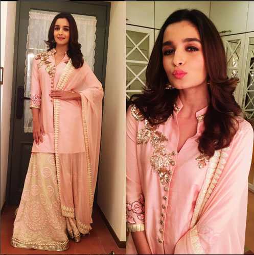 Bridesmaid's Dress ideas bollywood flaunted a.k.a Totally trending Wedding Outfit ideas for the Bride's Best friend | alia Bhat in a pretty creme and pink chikkankari sharer paired with a power pink kurta with gold flowers and a pink dupatta