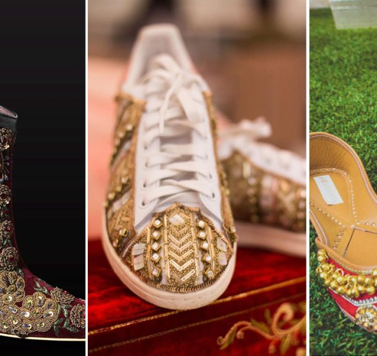 Embroidered block heels and wedding sneakers along with red and gold ghumghroo juttis for the Indian bride | Indian bridal heels and Indian bridal shoes to die for