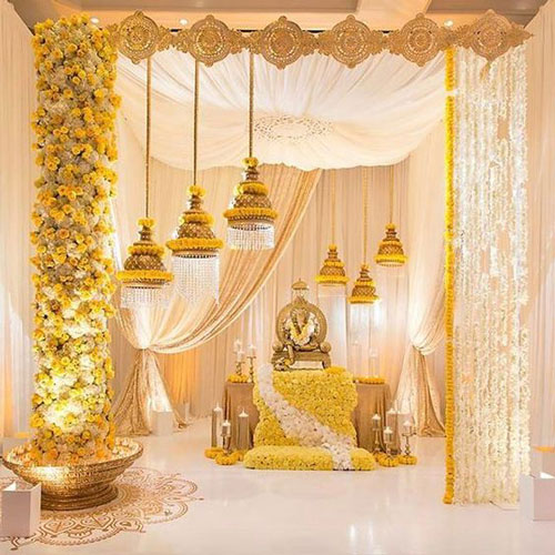 Bells and flowers to decorate the pooja room with white and yellow flowers | pooja decor ideas| Ganesh Chaturthi ideas | amazing Ganesh idols