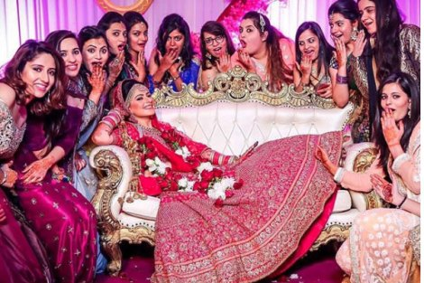 Bride with her gang on the wedding| Create memories with your BFF– Bridesmaids photoshoot Ideas WE LOVED!