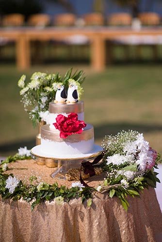 Joshua and Shona | super cute penguin wedding cake