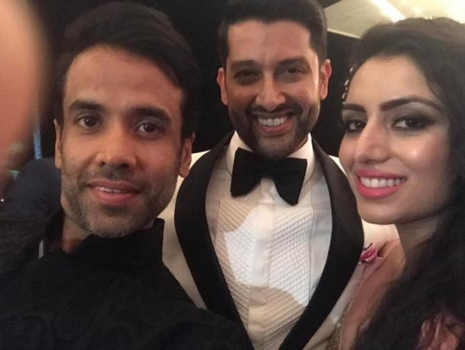 Aftab Shivdasani with wife non and Tushar Kapoor at his wedding reception in Sri Lanka
