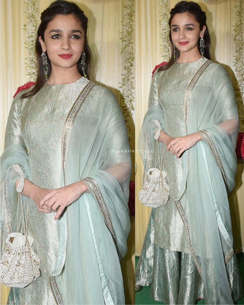 Diwali look alia Bhat in a benarsfi long kurta and plazos