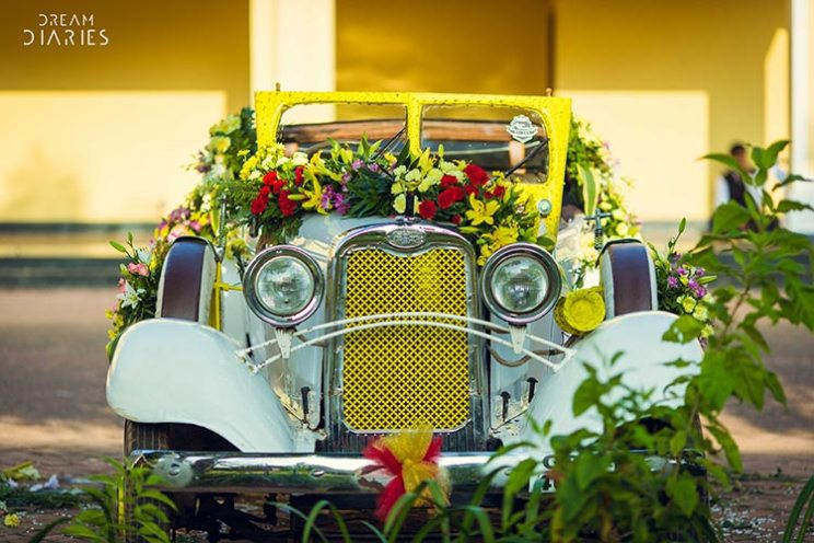 Anchal and Nikhil | super fun Goa Wedding by Crayon entertainment | destination wedding in Goa full of ideas | vintage car for the groom entry to the mandap