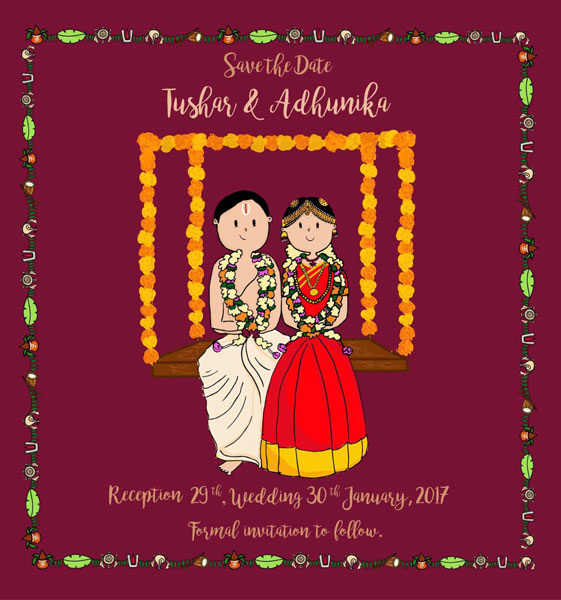 Indian wedding e invitation with cute caricatures in South Indian style
