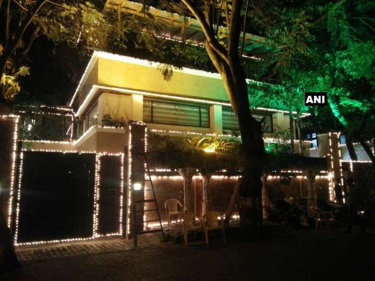The house all lit up for Sonam Kapoor's Wedding