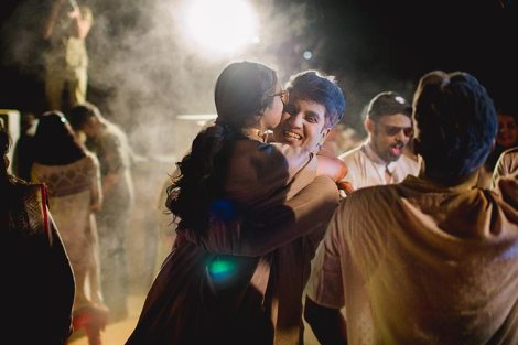 Namrata & Kiran | Personalized wedding in Hyderabad | Sangeet ideas | nude cape outfit for sangeet | Bride playing dhol | holi theme wedding party Sangeet ideas