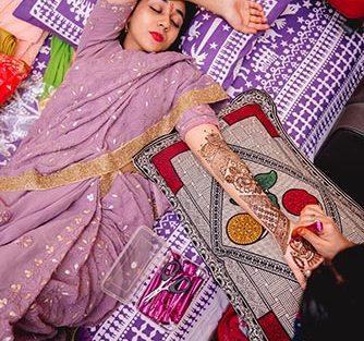 Sleeping bride posing away