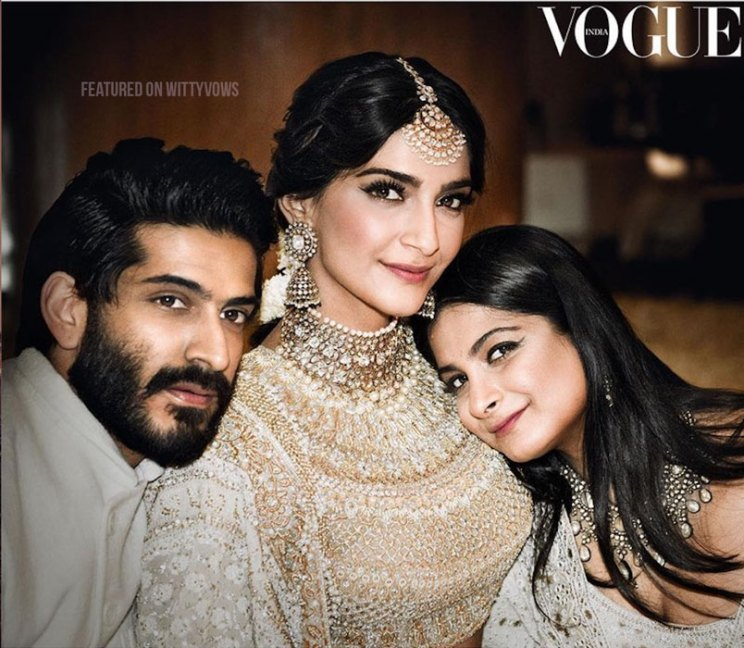 Indian bride with her brothers | Poses for the brother of the bride photos for your wedding | Indian wedding trends 2018 | Sonam kapoor with Harshvardhan and rhea kapoor