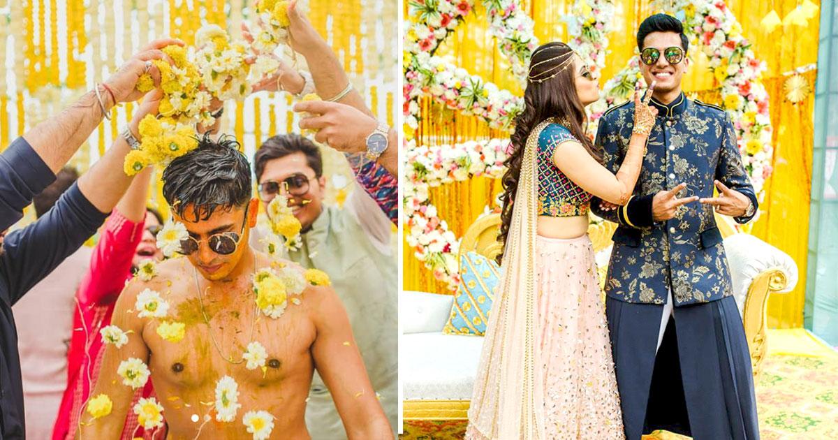 Abheshek & Smily   Chandigarh Weddings   Haldi pictures   Candid photos   Indian wedding rituals   Yellow theme   Haldi decor ideas   Destination weddings   Groom photos   Poses for grooms