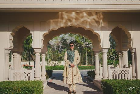 Abheshek & Smily - A Chandigarh Wedding full of fun photo   Sabyasachi Sherwani   Groom photo ideas for indian wedings