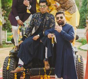 Abheshek & Smily - A Chandigarh Wedding full of fun photo   Sabyasachi Sherwani   Groom photo with friends in nikhil shantanu outfit