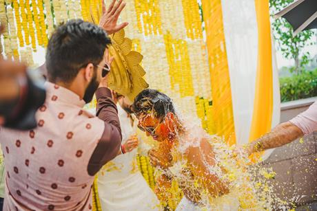 Abheshek & Smily   Chandigarh Weddings   Haldi pictures   Candid wedding pictures   Haldi ceremony   Indian groomsmen   Real Indian weddings   Indian wedding Photography   Yellow decor for haldi  