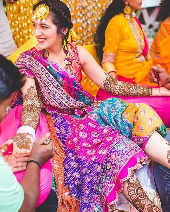 Mehendi Outfit ideas | Real Indian brides | Patch work | mehendi outfit ideas | Indian Bridal fashion | Bridal couture |