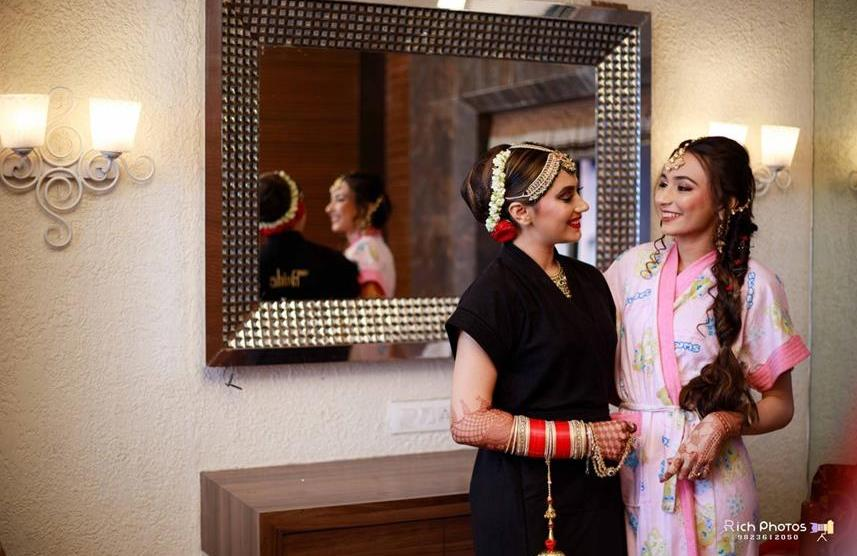 Meghna Sadhwani | Getting ready photo shoot of bride | bridal photo shoot | Bridal Swag | Bridechilla | Swagger Bride | Personalized accessories | Robe | Slippers |