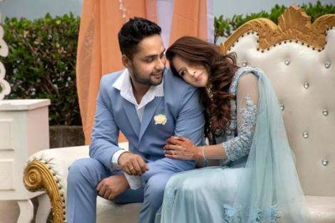 Tapsi and Tarun | Romantic Engagement Photo shoot | Engagement outfit ideas | Bride in pastel blue saree with a trail | Indian Couples | Indian Wedding Photography |