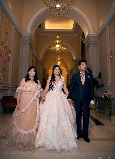 Noor and Akshay | Delhi Weddings | Indian brides | Engagement outfit ideas | Bridal Gowns | Gown with a trail | Gowns for brides | White gown | Real Brides | Just Engaged | Family portrait | Wedding Photography | Cinderella |