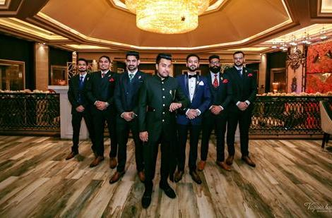 Noor and Akshay | Delhi Weddings | Wedding Photography | Groom and his Groomsmen | Menswear | Just engaged | Groom and his squad |