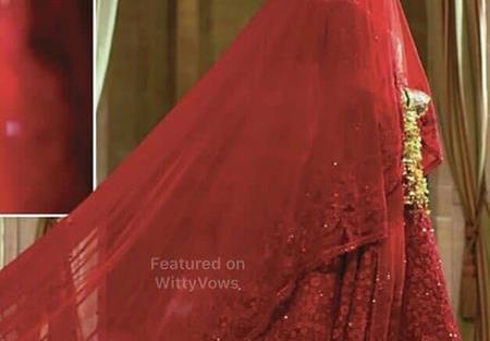 Priyanka Chopra and Nick Jonas Wedding   Priyanka Chopra in red custom sabyasachi lehenga with trail  
