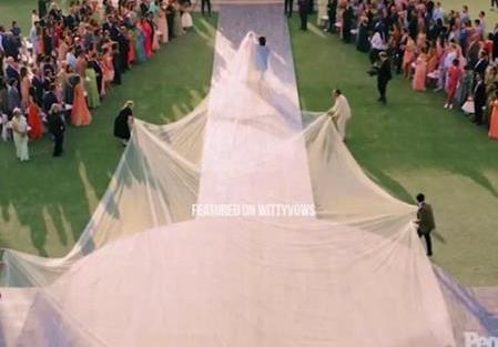 Priyanka Chopra and Nick Jonas Wedding | Custom Ralph Lauren gown with 70ft trail |