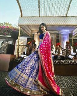 Khushi Kapoor in blue benarasi silk Manish Malhotra lehenga |