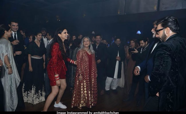 Deepika Padukone in a dress and sneakers with jaya bacchan