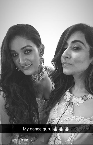 Jonita Gandhi and Sister Mukti Mohan |at Neeti Mohan's wedding