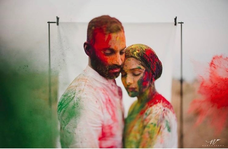 Couple Portraits   Holi Party   Post wedding Photo shoot   Couple Photoshoot   Portrait Photography   Newlyweds   First Holi after Wedding   Festivals   Gulaal   Colors