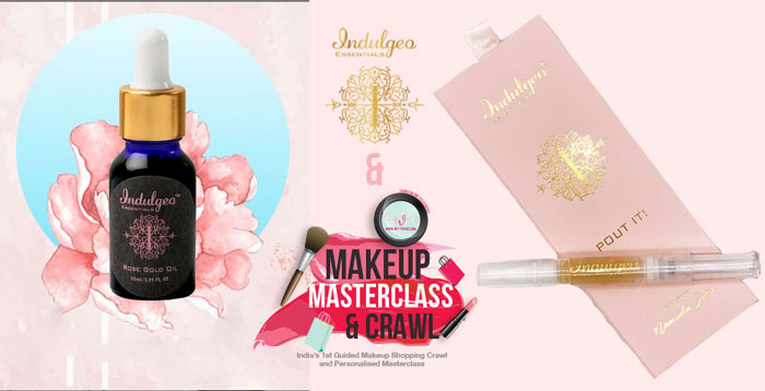 Makeup masterclass delhi | best bridal makeup class in delhi | Trousseau shopping with the best makeup artists in delhi | Indulgeo essentials giveaway for wittyvows class | indulgeo rose gold oil and pout it