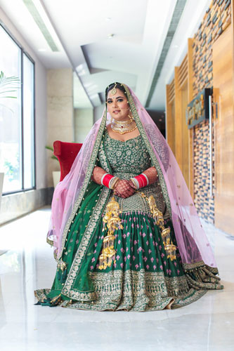 Curvy brides | Indian Weddings | Bridal Photography | Indian Bridal lehenga | Bridal Couture | Fashion | Green and gold | Kaleere